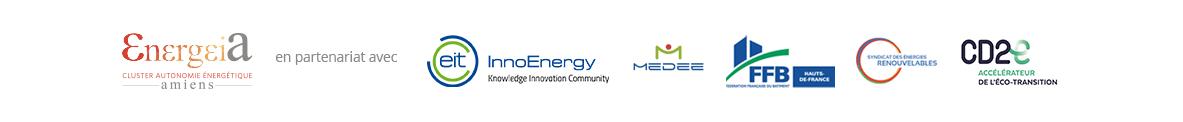 Logos Energeia - InnoEnergy - Fédération Française du Bâtiment - Syndicat des énergies renouvelables - CD2E